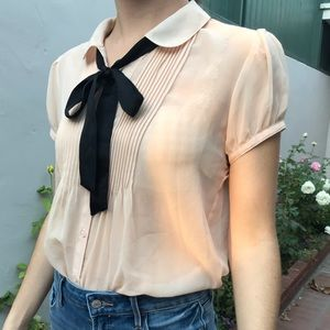 Peachy Nude Pussy Bow Blouse